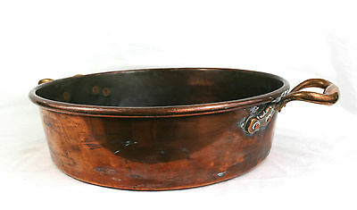 Antique Victorian Huge Copper Pan Cooking Pot Heavy Copper Rivets