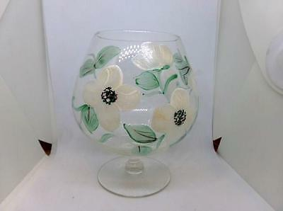 Vintage Glass Brandy Snifter - Hand Painted Tole Style Flowers - Beautiful