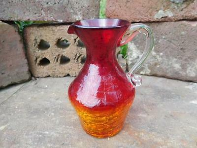 Vintage Red - Yellow Amberina Crackle Glass Pitcher -  Applied Clear Handle