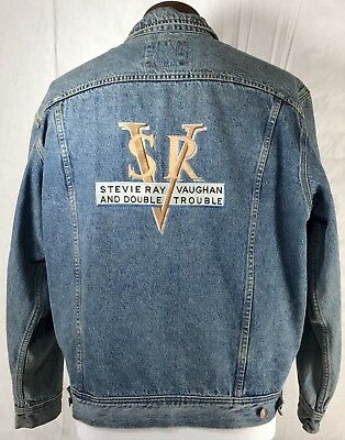 Vintage Stevie Ray Vaughan Double Trouble Denim Jacket Embroidered Faded Size L