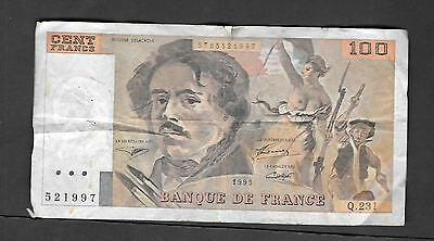 1993 France 100 Cent Francs Circulated Banknote