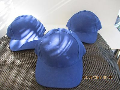 Lot Of 3 New-Solid Royal Blue Caps/hats-6 Panel-Metal Buckle Adj-By Falcon[A103]