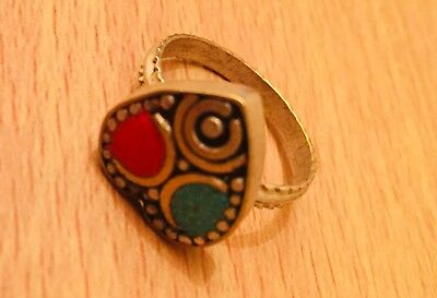 Authentic Vintage Brass & Turquoise Heart Shape Ring