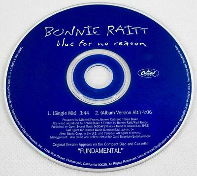 Bonnie Raitt 1998 Blue For No Reason Promo Single CD Blues Pop Rock Music