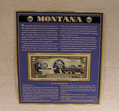Montana  $2 Two Dollar Bill - Colorized State Landmark - Uncirculated Authentic