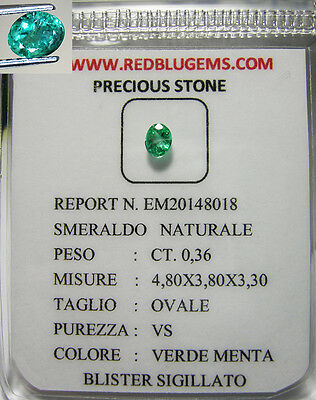 Smeraldo Naturale Intrattato Pulito Brillante In Blister  Ct.0,36 Vs
