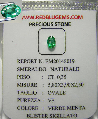 Smeraldo Naturale Intrattato Pulito Brillante In Blister  Ct.0,35 Vs