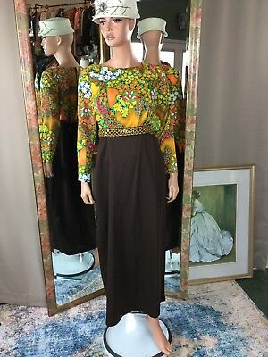 Vintage Chocolate Brown Orange Yellow Flower Power Maxi Dress Sz 12 Mint Cond
