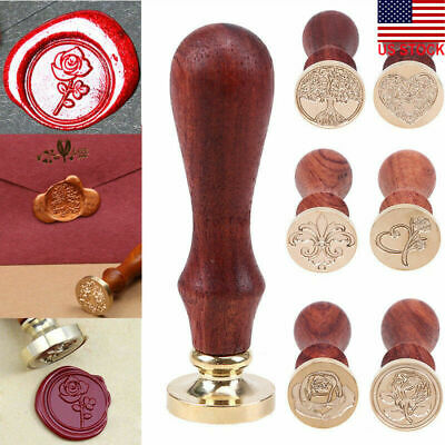 Wooden Handle Wax Seal Spoon Stamp Letter Brass Head Party Invitation Card Decor