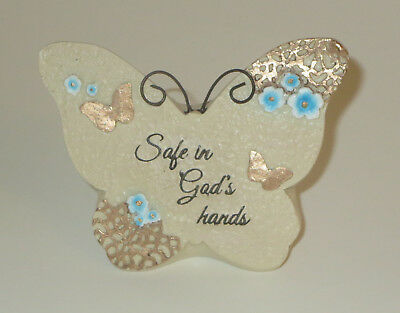 Safe In God's Hands Memorial Grave Marker Butterfly Resin Light Weight New