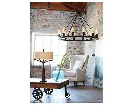 NEW 30 In Black Iron Ceiling Light Chandelier Antique Vintage Glass Bulb Round