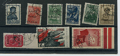 Lithuania Germany Occup Ww2 Telsiai 1-8, 10 Used Type 1 Signed Krischke