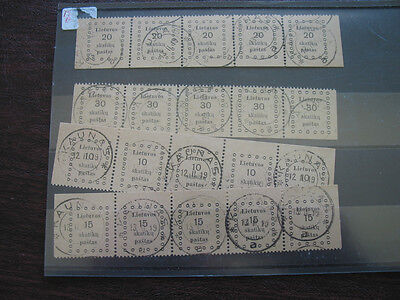 Lithuania   9-12  Used Set In Strips Of 5
