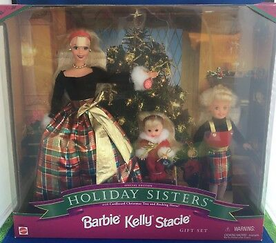 1998 Holiday Sisters Barbie- Kelly And Stacie Special Edition Doll Gift Set NIB