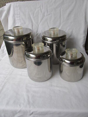 Revere Ware Stainless Steel Canister Set with Clear Lucite Handles Set of 4