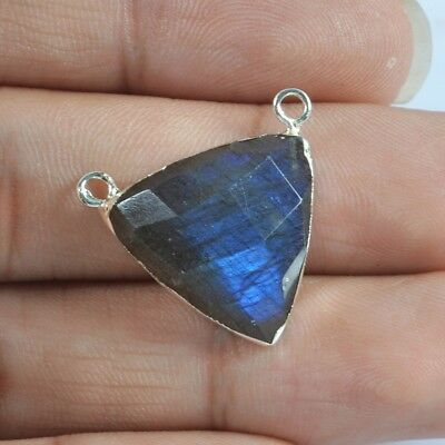 Triangle Natural Labradorite Faceted Connector Silver Plated T042559