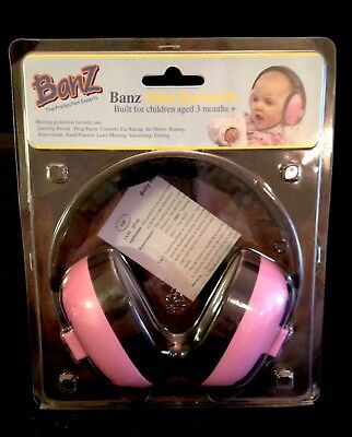 Banz Baby Toddler Mini Earmuffs Pink 3+ Months Hearing Protection New
