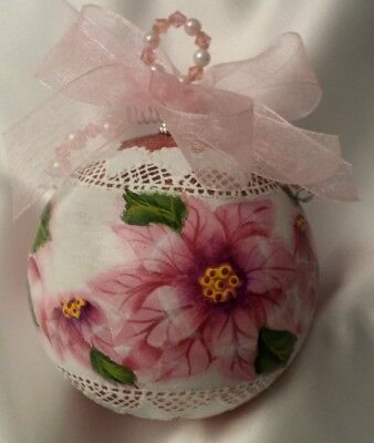 Hand Painted Poinsettia Christmas Ornament Shatterproof Cottage Chic Shabby Lace