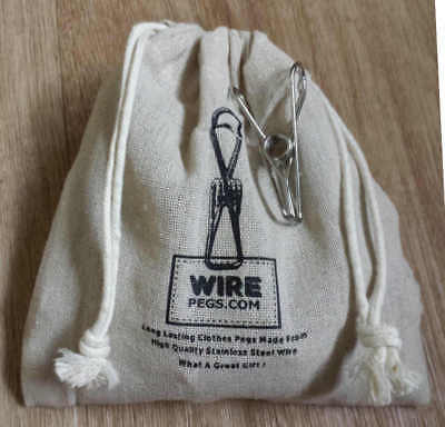 45 grade 201 Stainless Steel Wire Clothes Pegs in a hemp bag