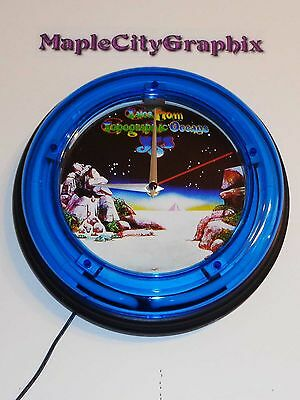 Yes Tales From Topographic Oceans Blue Neon Wall Clock