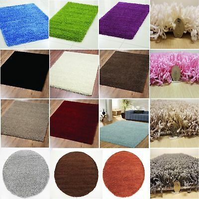 SMALL X LARGE SIZE THICK PLAIN SOFT SHAGGY RUG NON SHED 5cm PILE MODERN RUGS NEW