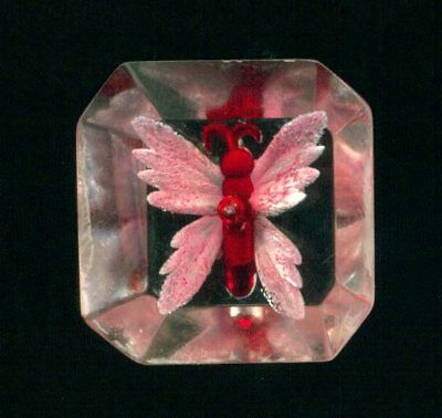Lucite Button…Wonderful Pink & Red Butterfly… Carved Internally…Shape