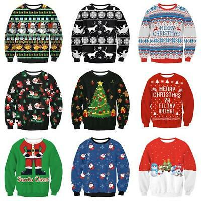Fashion Mens Christmas Pattern Knitted Santa Clause Jumper Sweater Tops Xmas