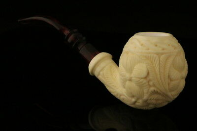 Apple Hand Carved Block Meerschaum Pipe made by Emin Brothers in case 8057
