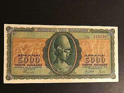 Greece 1943 5000 Drachmai Banknote F-Vf Uncirculated