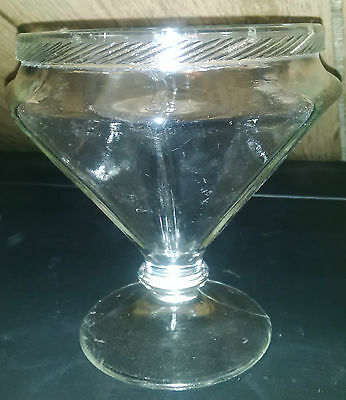 Antique Footed Glass Compote Octagon Roped Edge