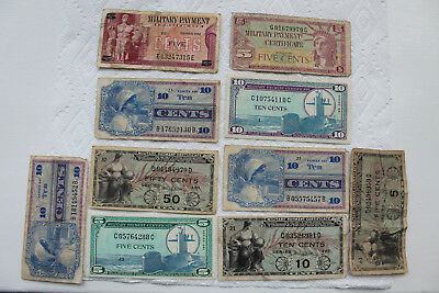 USA Military Payment Certificates (MPC), 1951-70,10 total, series 481-692