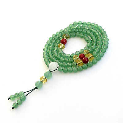 Green Aventurine Gemstone Tibet Buddhist 108 Prayer Beads Mala