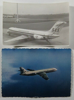 SAS Scandinavian Airlines Original B&W DC-9 Airplane Photograph And Postcard