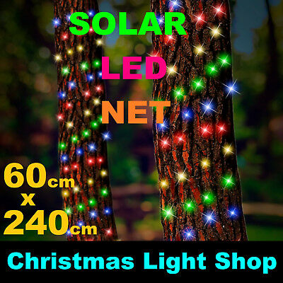 SOLAR TREE TRUNK Net MULTICOLOUR LED Flashing Outdoor Christmas Tree Lights 2.4m