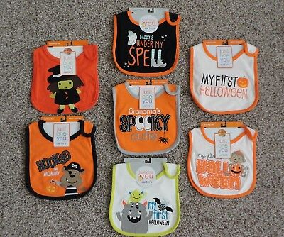 Carter's Just One You Baby My First Halloween Monster Pirate Witch Monkey Bib