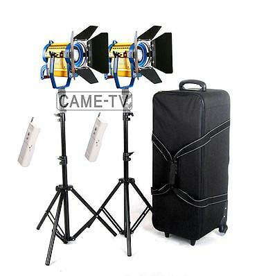 Wireless Remote+Bi-color 2xCE-1500WS LED Fresnel Studio Spotlight Light Kit