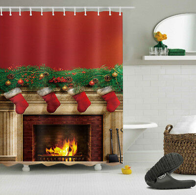 Christmas Eve Fireplace Bonfire & Socks Shower Curtain Polyester Waterproof