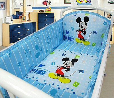 Mickey Mouse Baby Bedding Set Crib Sheet 6 pcs Nursery Boy Girl Infant Blue cuna