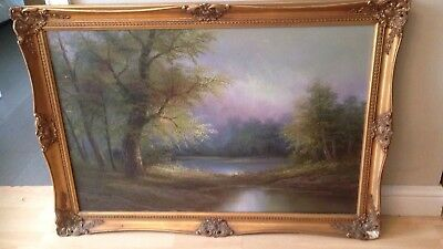 Large Vintage Artist Signed Gilt Framed Canvas Oil Painting 41 x 29 Inches