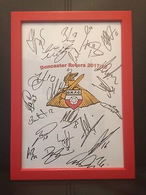 Doncaster Rovers X21 NEW 2017/18 Hand Signed Framed A4 Autograph Sheet,