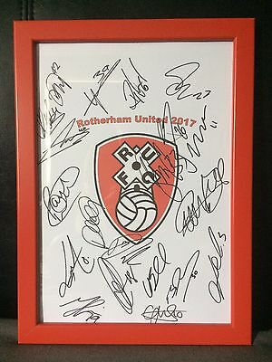 Rotherham United X20 2017 Hand Signed Framed A4 Autograph Sheet,Paul Warne