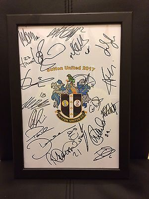 Sutton United FC X19 2017 Hand Signed Framed A4 Autograph Sheet,FA CUP,