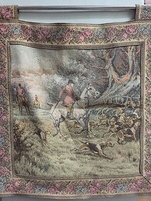 """Antique Lined Tapestry Wall Hanging - Hunting With Hounds Scene. 25"""" W by 25""""H."""