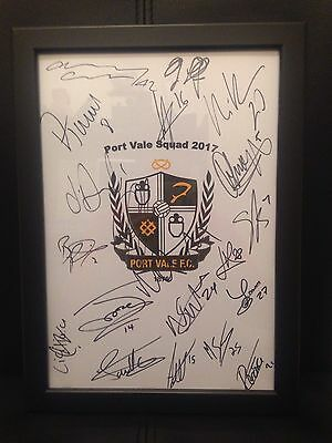 Port Vale FC X20 2017 Hand Signed Framed A4 Autograph Sheet