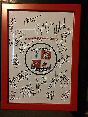 Crawley Town FC 2017 Hand Signed Framed A4 Autograph Sheet