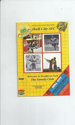 Hull City v Manchester United League Cup Football Programme 1987/88