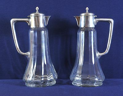 Pair of art-deco glass jug with silver top, caraffa, 1920's