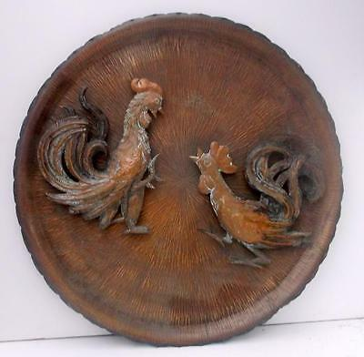 Very Unusual Large Vintage French Copper Cock Fighting Plaque !