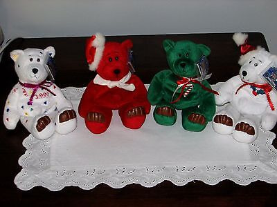Lot of 4 Vintage LIMITED TREASURES Holiday Edition 98 Cute BEARS Collectibles