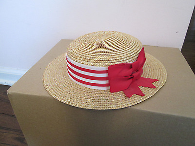 Vintage LAURA ASHLEY Childs Regatta Bowler Straw Hat Red White Ribbon Only 1 Lo$